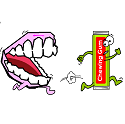 mouth chasing chewing gum