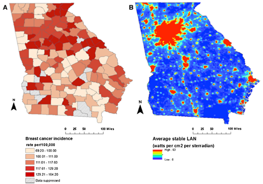 Breast cancer by county and light at night exposure in Georgia. Copyright 2013 Bauer et al