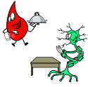 red blood cell feeding a neuron