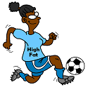 high fat soccer player beats out low fat player