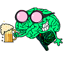 brain wearing rose coloured beer glasses