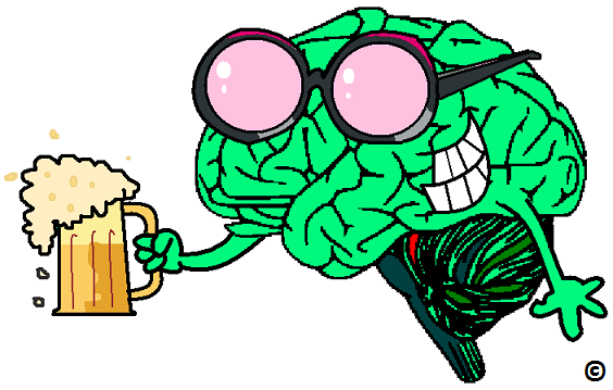 brain wearing rose coloured beer glasses