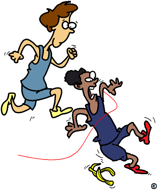 runner crossing the line first because he slipped on a banana peel