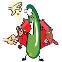 cucumber hiding vitamins under his jacket