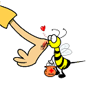 woung being kissed by a bee