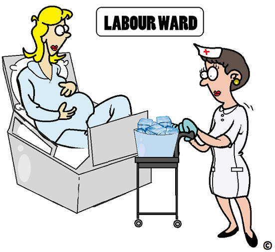 ice cubes being served in the labour ward