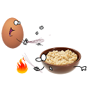 oatmeal breakfast being beaten by egg