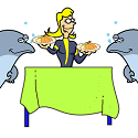 dolphins being served a fishy dinner