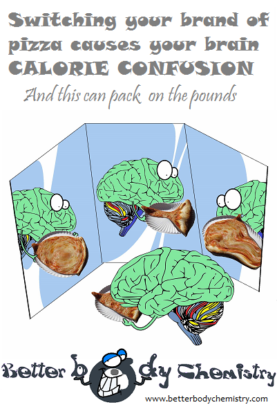 brain not able to count the calories in a pizza