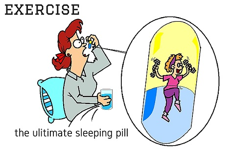 lady taking an exercise sleeping pill