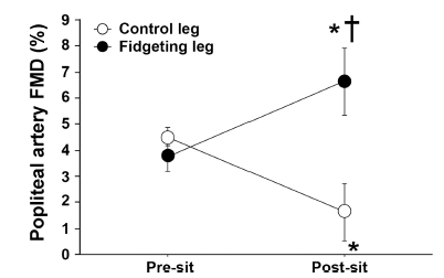 flow mediated dilation in fidgeting leg versus static leg