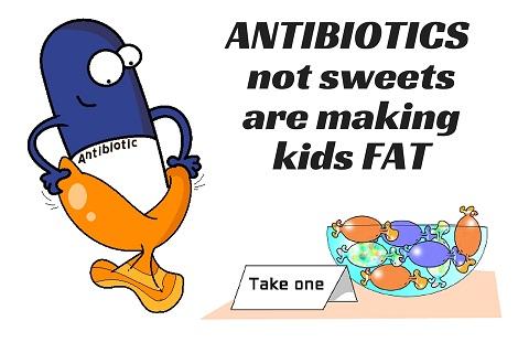 antibiotics not sweets causing childhood obesity