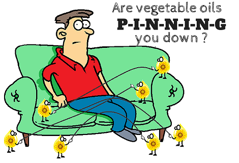 man pinned to the couch by sunflower oil