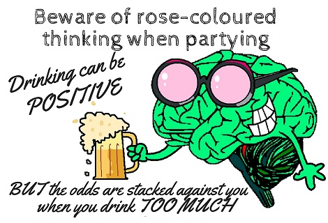 beer drinking with rose coloured glasses
