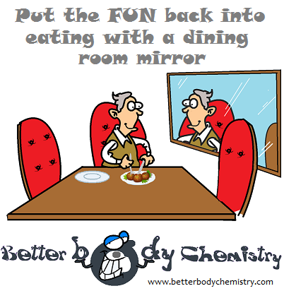old man eating in front of a mirror