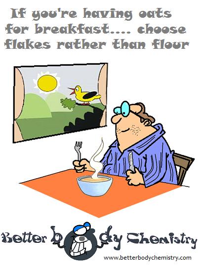 man eating oat porridge for breakfast