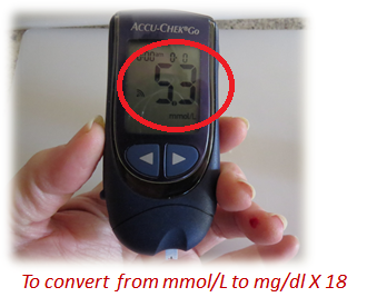 glucose meter showing fasting blood glucose reading