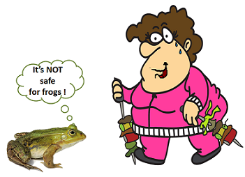 frog noting that nordic walking is not safe for frogs