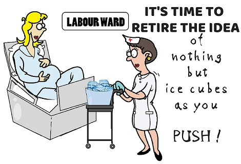women being served ice cubes during labour