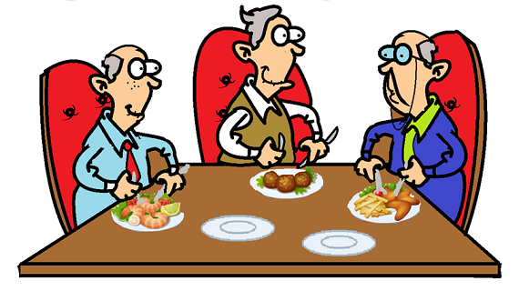 3 old men eating