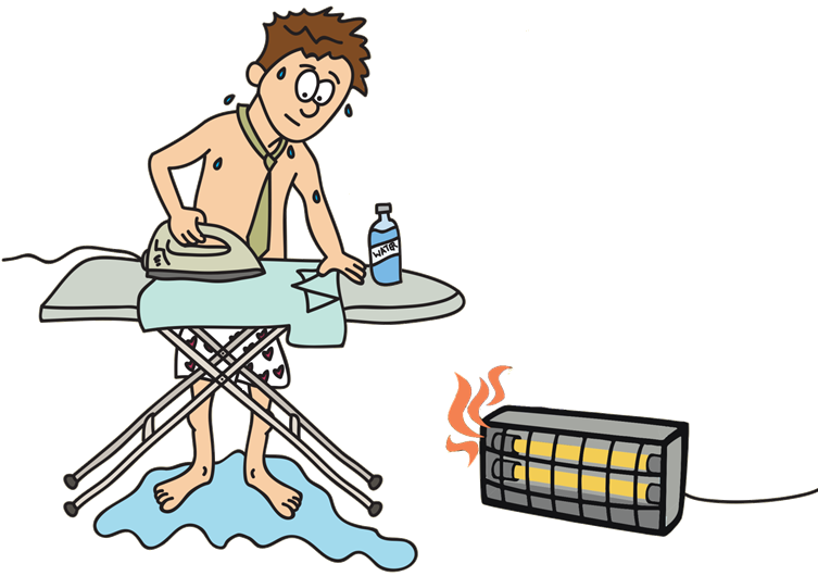 man ironing in a hot room