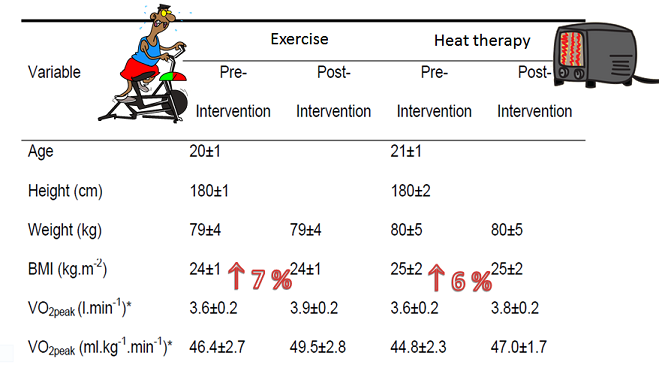 Table showing fitness levels